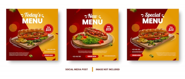 Post de mídia social de banner de menu de comida gradiente vermelho e amarelo.