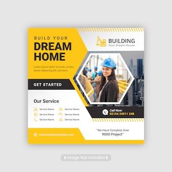 Post de mídia social de construção modelo de banner