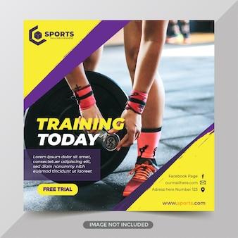 Post de mídia social de ginásio de fitness