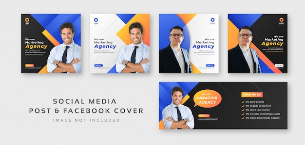 Post de mídia social de marketing digital de negócios com modelo de capa do facebook