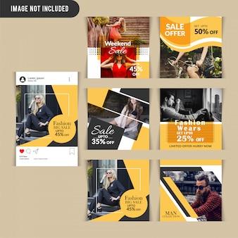 Post de mídia social de moda amarela