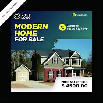 Post de mídia social de venda de casa moderna criativa