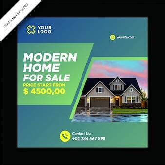Post de mídia social de venda de hipoteca