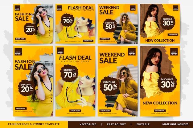 Post de mídia social de venda de moda especial e modelo de histórias amarelo