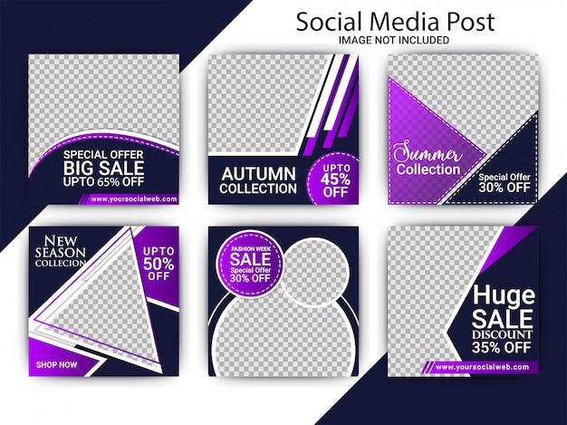 Post de mídia social de venda de moda