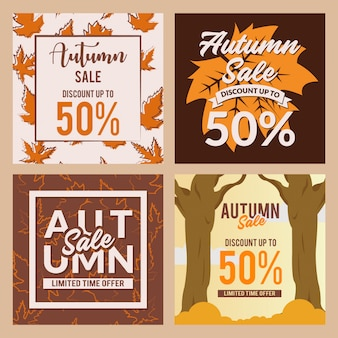 Post de mídia social de venda de outono