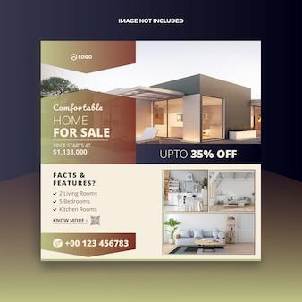 Post de mídia social de venda imobiliário casa e web banner
