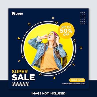 Post de mídia social de venda ou modelo de banner