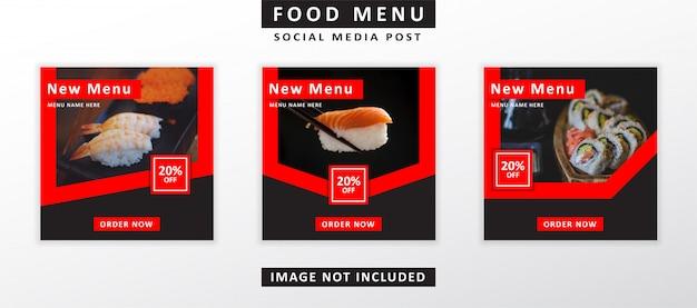 Post de mídia social do menu de comida