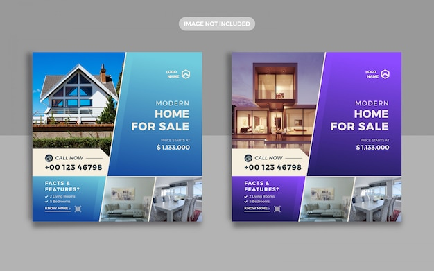 Post de mídia social imobiliária e web banner