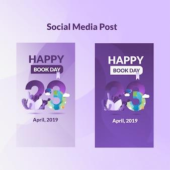 Post de mídia social no tempalte do dia mundial do livro
