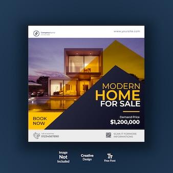 Post de mídia social ou design de banner para empresa imobiliária