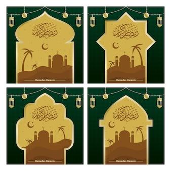 Post de mídia social para saudações de celebração islâmica