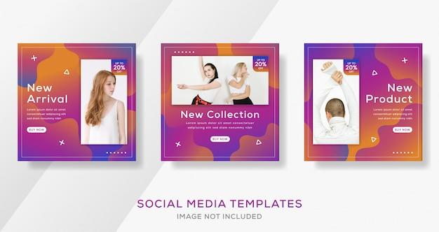 Post de modelo abstrato banner com gradiente de cor para venda de moda.