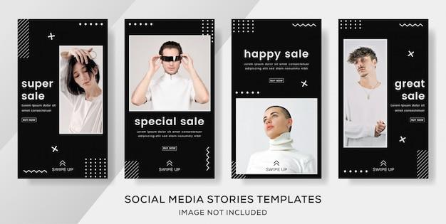 Post de modelo de banner de venda de moda com cores preto e branco. cor premium