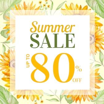 Post de venda de verão com decoração floral desenhados à mão