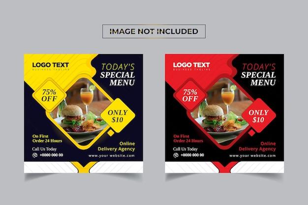 Post design de mídia social de comida