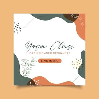 Post do instagram do pôster da aula de ioga desenhado à mão abstrato