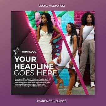 Post elegante de mídia social diagonal roxa