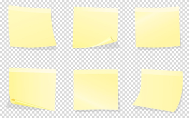 Post-it amarelos isolados em transparentes