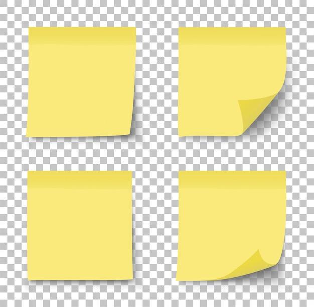 Post nota adesivo. etiqueta de papel em fundo transparente.