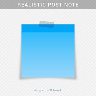 Post nota realista em fundo transparente