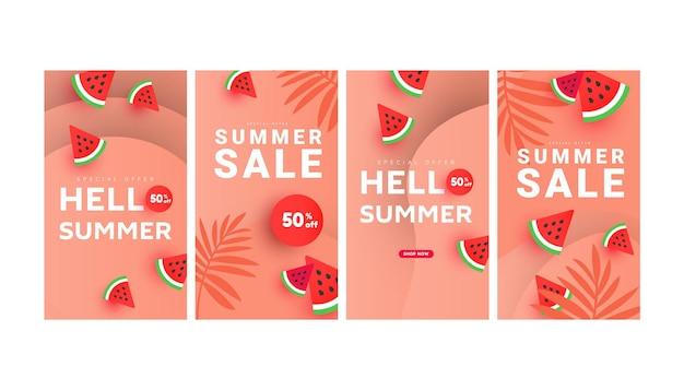 Post pack de histórias de banner de venda de verão na moda. padrão de fatias de melancia
