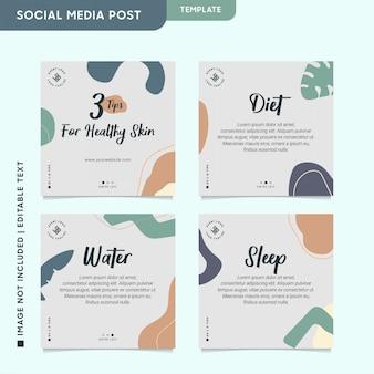 Post saudável e de beleza no instagram para engajamento em mídias sociais