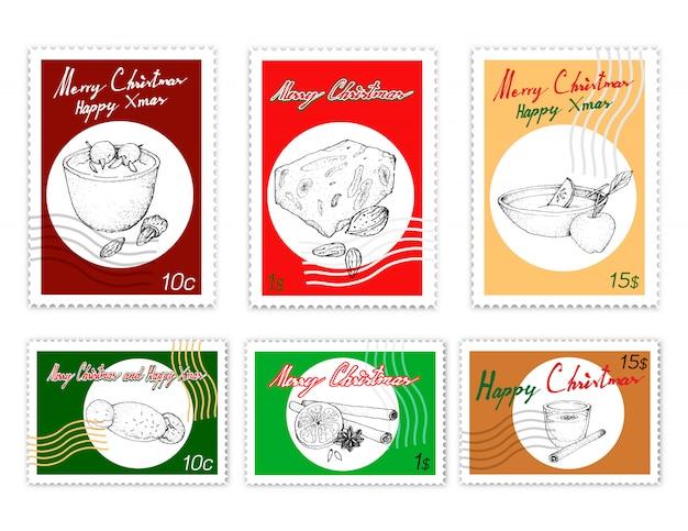 Post stamps conjunto de deliciosas sobremesas de natal