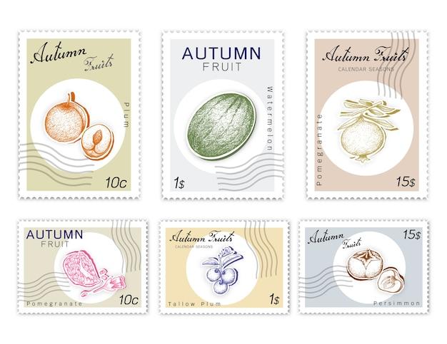 Post stamps conjunto de frutas do outono com arte de corte de papel