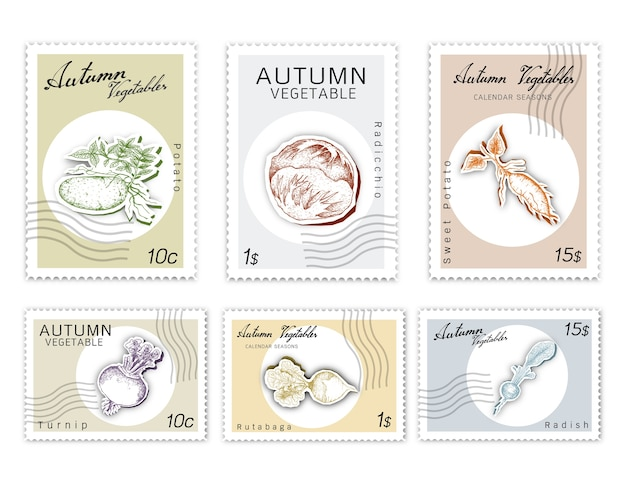 Post stamps set of autumn vegetais com papel cortado art