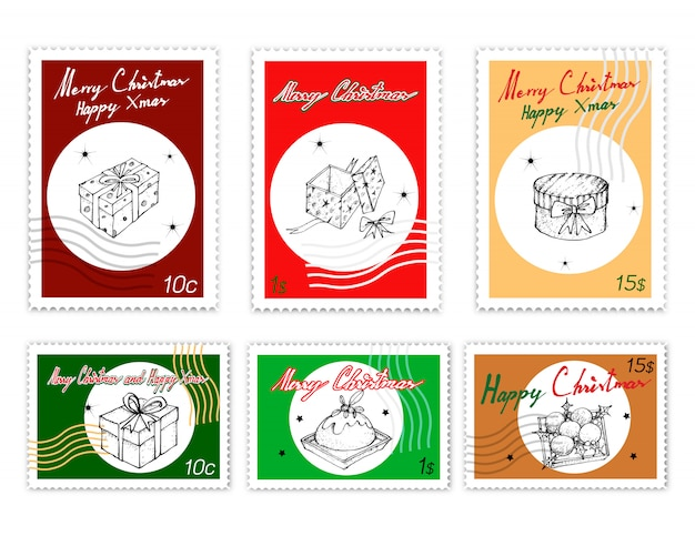 Post stamps set of hand drawn itens de natal