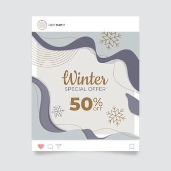 Postagem abstrata elegante de inverno no instagram