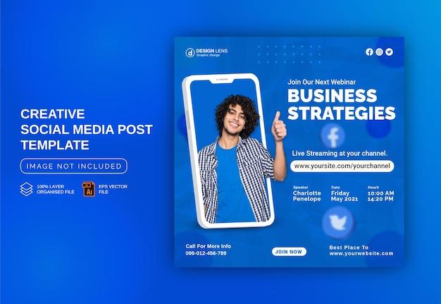 Postagem ao vivo de mídia social de conceito exclusivo para estratégias de marketing digital modelo de capa promocional