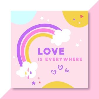 Postagem colorida desenhada à mão sobre amor no facebook