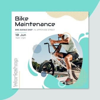 Postagem criativa do instagram do esporte da oficina de manutenção de bicicletas