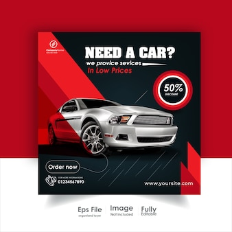 Postagem de aluguel de carros no instagram e postagem em mídia social ou design de anúncios.
