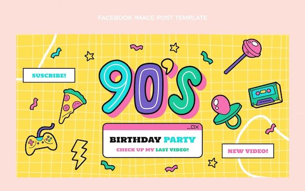 Postagem de aniversário dos anos 90 desenhada à mão no facebook