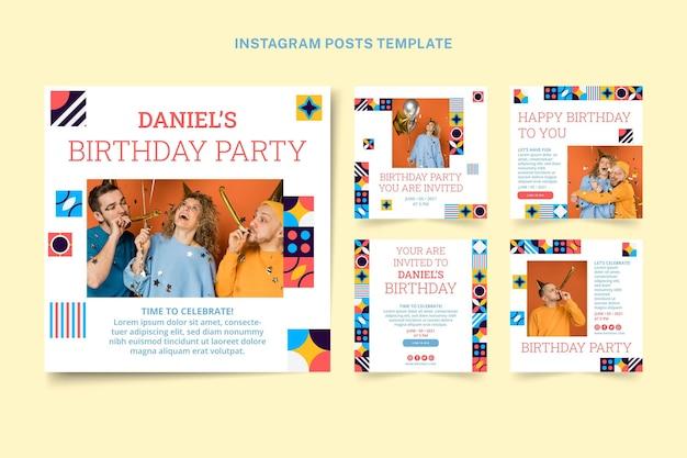Postagem de aniversário em mosaico plano no instagram