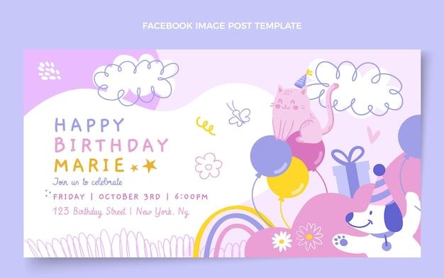 Postagem de aniversário infantil desenhada à mão no facebook