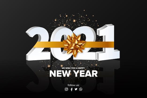 Postagem de ano novo com design realista