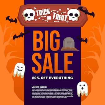 Postagem de banner de modelo de venda grande de doces ou travessuras de halloween
