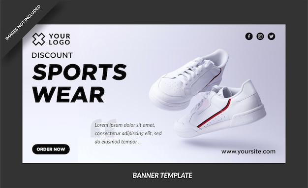 Postagem de banner de venda de roupas esportivas