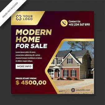 Postagem de casa moderna ouro vermelho escuro para venda