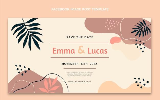Postagem de casamento abstrato em aquarela no facebook