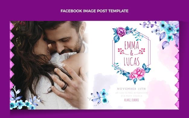 Postagem de casamento boho em aquarela no facebook Vetor grátis