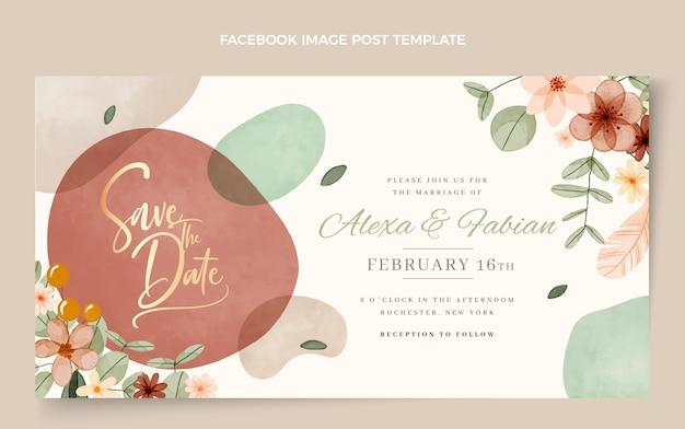 Postagem de casamento boho em aquarela no facebook