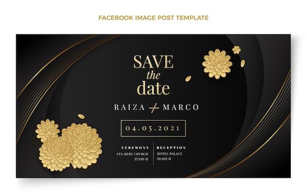 Postagem de casamento de ouro de luxo realista no facebook