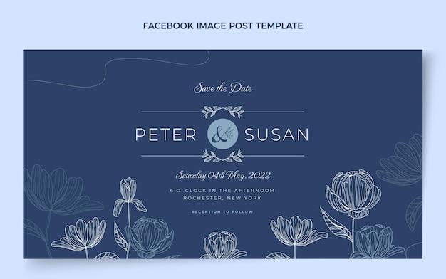 Postagem de casamento desenhada à mão no facebook