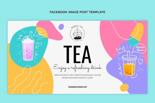 Postagem de chá desenhada à mão no facebook